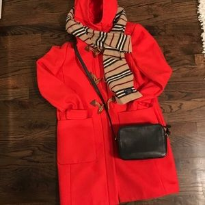 7015bc7d2b04 J.Crew Convertible Toggle Coat Orange Red 10 12 ...